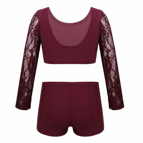 Girls Dance Leotards Sports Outfit Two Pieces Ballet Dance Gymnastics Workout