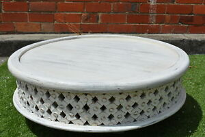 Image Is Loading White Distressed Round Hand Carved Plantation Timber Bamileke