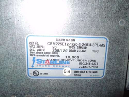 StarLine Busway Tap Box CBM225E12-1//20-3-240-4-3PL-MS 3-20A 1p 208//120V Used