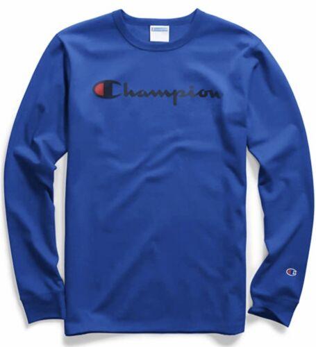 Champion Mens Script Logo Tee Heritage Blue Long-Sleeve T-shirt Large NEW
