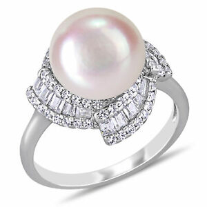 Haylee Jewels Sterling Silver Cultured FW Pearl & CZ Swirl Halo Ring