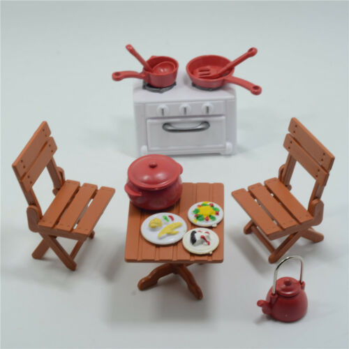 Picnic Table Chairs Set Dollhouse Miniatures furniture  For Sylvanian Families
