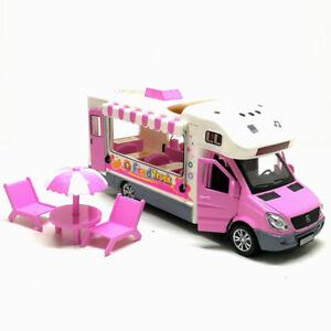1-32-Eiswagen-Hot-Dog-Truck-Die-Cast-Modellauto-Spielzeug-Model-Sammlung-Rosa