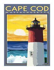 Cape Cod, MA Lighthouse-Vintage Art Deco Style Travel Poster-by Aurelio Grisanty