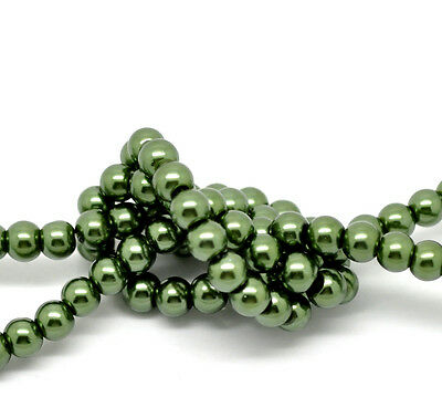 2 x 32inch STRANDS 6mm DARK GREEN ROUND PEARL GLASS BEAD~Wine glass charms (49H)