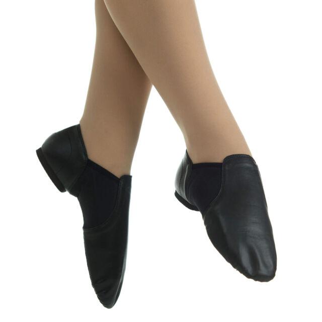 Black Leather Jazz Shoes Slip-on Adult