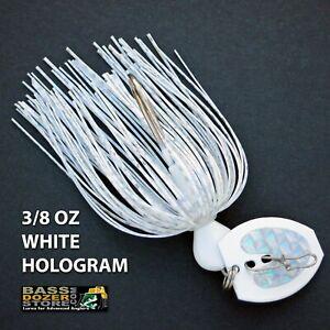 Bassdozer-BLADED-jigs-3-8-oz-WHITE-HOLOGRAM-bass-swim-jig