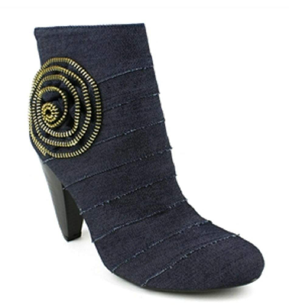 FAHRENHEIT BLUE BOOTIES w/ ABSTRACT ROSE DETAIL - SIZE 8