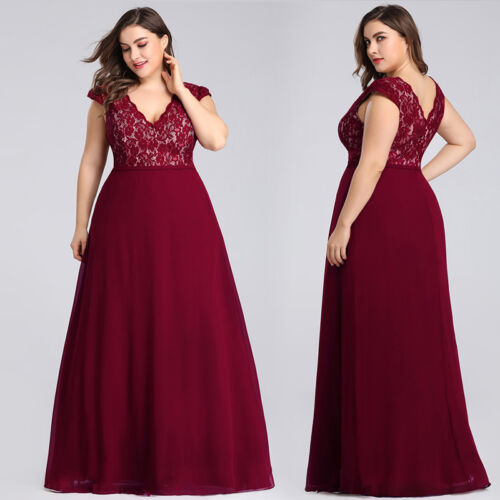 Ever-Pretty Women/'s Plus Size Maxi Cocktail Party Dress Evening Formal Lace Gown