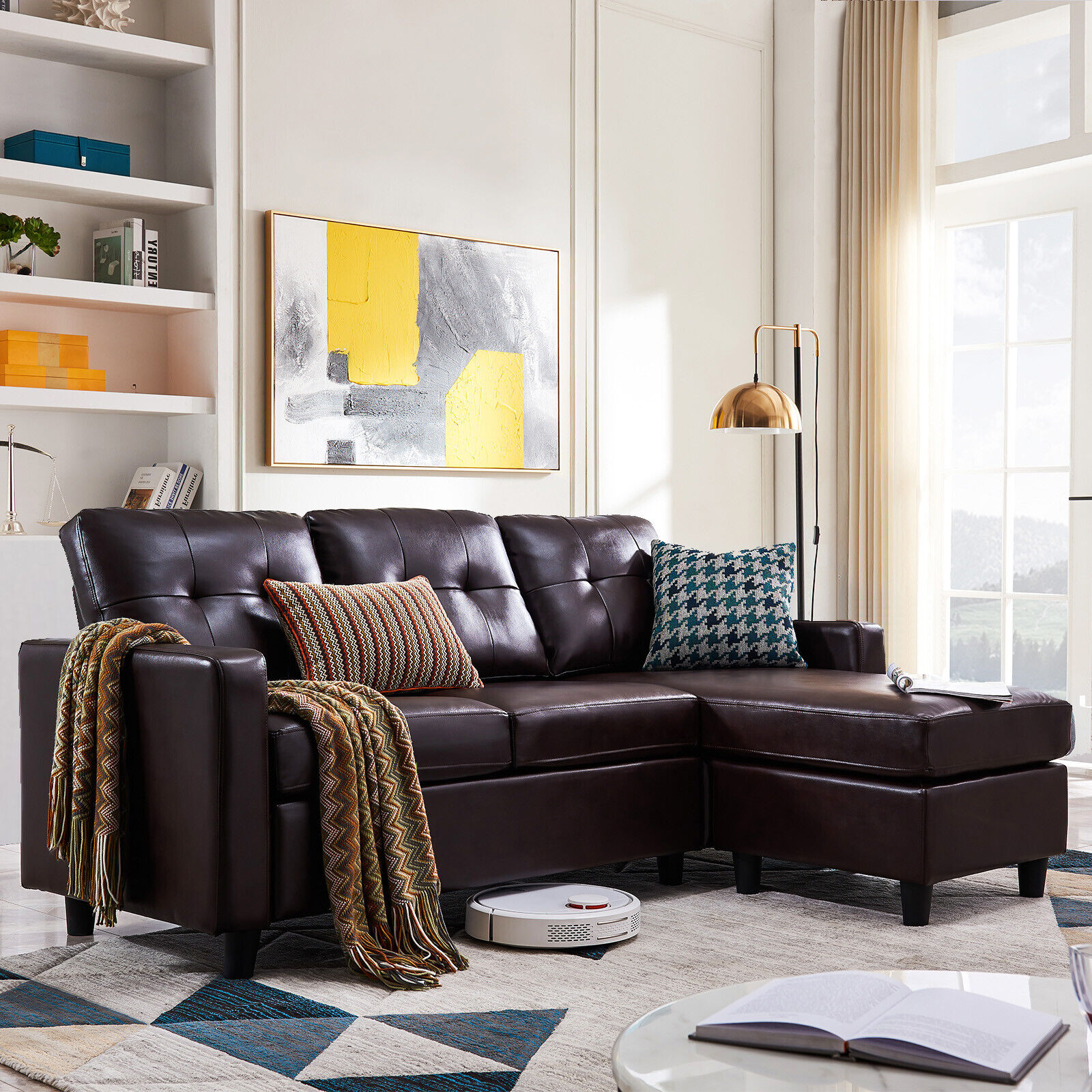 Pleasing Faux Leather Sectional Sofa L Shaped Couch W Reversible Chaise For Small Space Ibusinesslaw Wood Chair Design Ideas Ibusinesslaworg