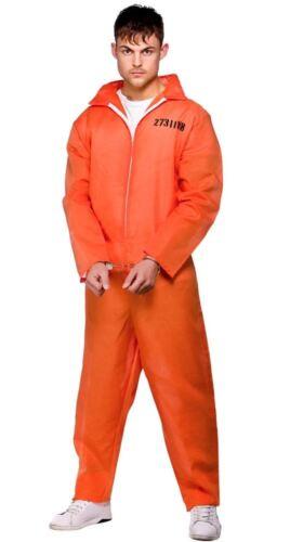 ADULT ORANGE CONVICT JUMPSUIT COSTUME Robber Prisoner Fancy Dress Outfit 3143