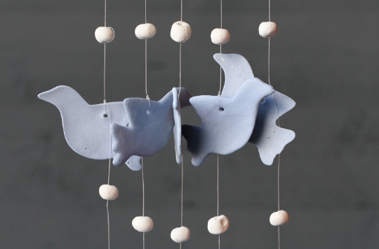 Handmade Ceramic Pastel Blue Birds Windchime Lovely Hanging Ornament