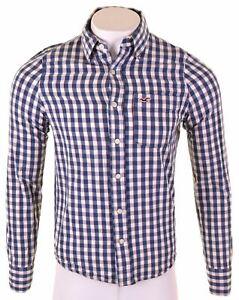 HOLLISTER-Mens-Shirt-Small-Blue-Check-Cotton-JI15