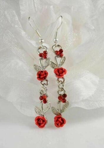"""2.5/"""" Tono Plata Metal Rojo Rose /& Acrílico Cristal único Diamante Pendientes"""