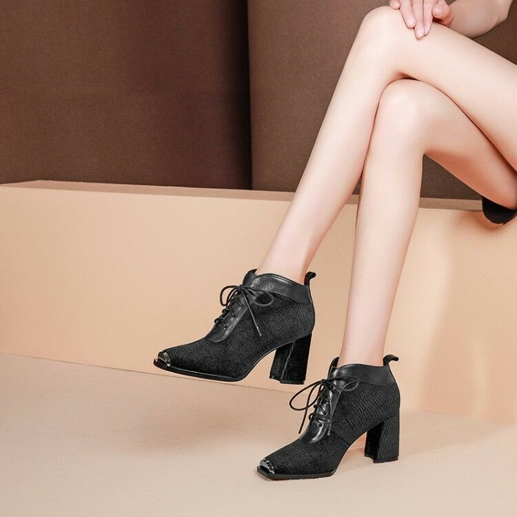 Donna Square Toe Lace Size Up Block High Heels Splice Ankle Stivali Size Lace 35-40 Shoes 49f5d7