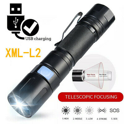 L2 LED Aluminum Flashlight  5 Modes Torch Light  USB Charge//26650 Battery Charge