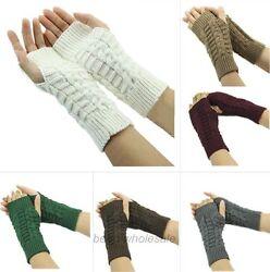 1Paar Fingerlos Handschuhe Lang Stulpen Armstulpen Pulswärmer Strick Stulpen Neu