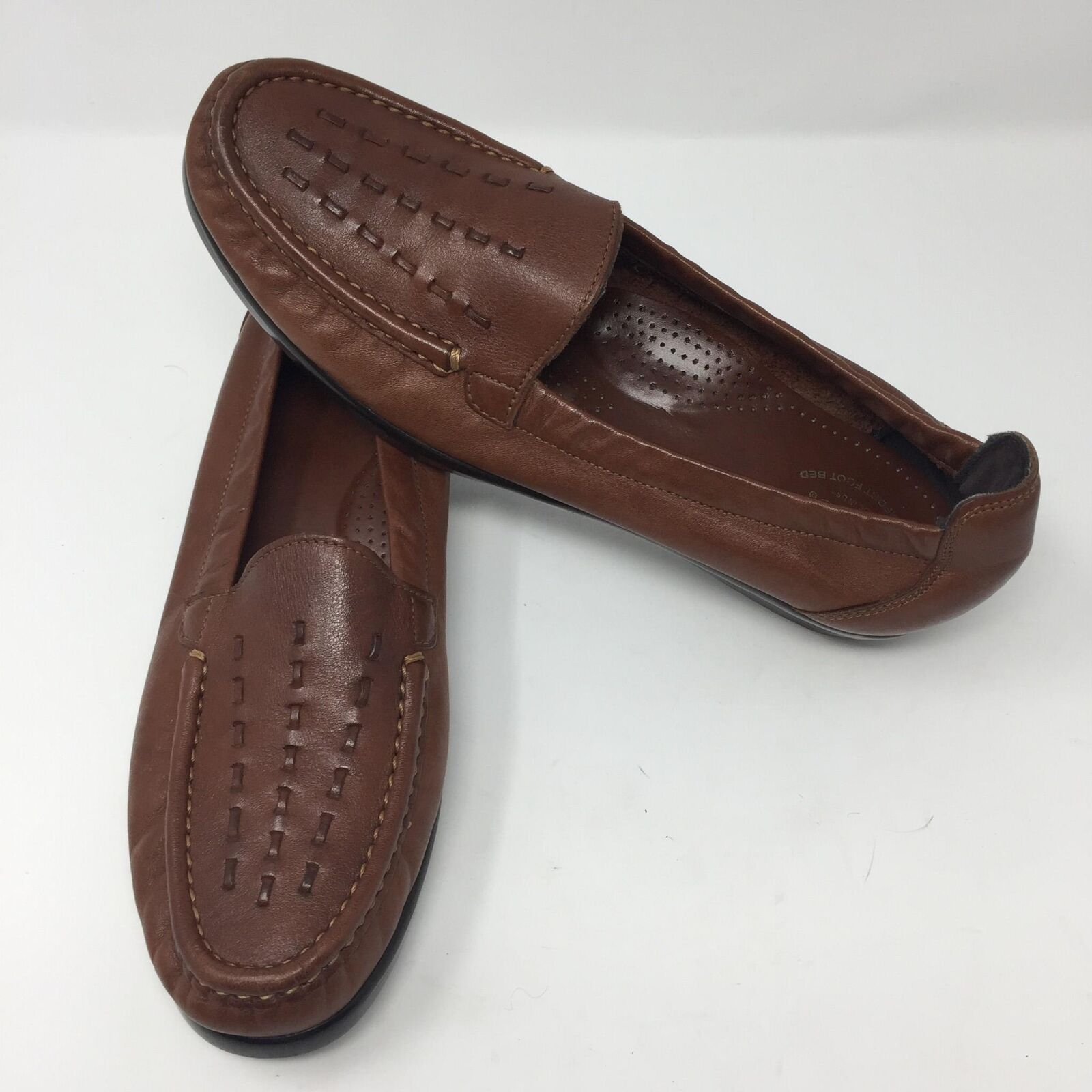 SAS Comfort shoes Brown Leather Slip On shoes Sz 10.5 N Narrow Loafers Boat