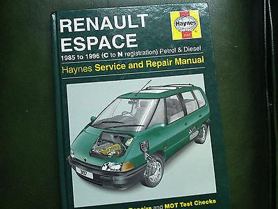 HAYNES MANUAL FOR RENAULT ESPACE.1985-1996 C-N REG.