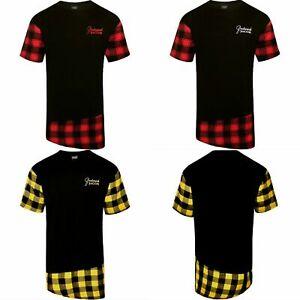 Camiseta-de-linea-larga-para-hombre-Franela-a-Cuadros-Franela-De-Cuello-Redondo-Manga-Corta-Negro