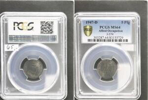 Allied Occupation 5 Pfennig 1947 D Mint State PCGS MS64 (7)
