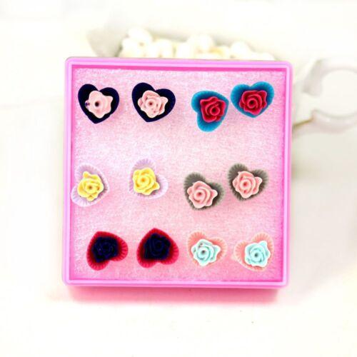 Fashion 6 Paires//Set Love Coeur En Résine Rose Fleur Oreille Goujon Boucles D/'oreilles Bijoux Cadeau