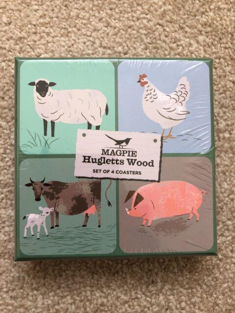 Magpie Hugletts Wood Set Of 4 Coasters