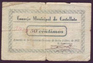 PüNktlich Geldschein Local - Castellote - 50 Cts. Jahr 1937 SorgfäLtige FäRbeprozesse