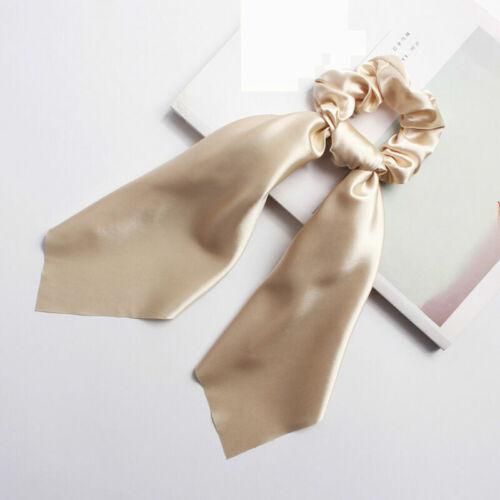 Ribbon Elastic Rope Solid Satin Scrunchie Hair Headband Scarf Ties Hair Band Bow