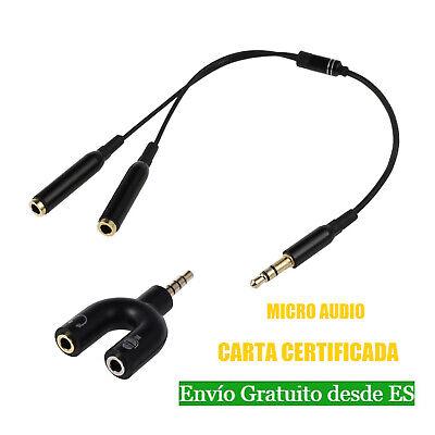 Blanco 2 V/ías Adaptador U Divisor 3,5 mm Audio Est/éreo Jack para Auriculares