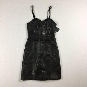 Guess Los Angeles Womens Size 0 Black Strapless Leatherette Mini Dress. T