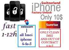 Factory Unlock for iPhone 5 4S 4 locked on SWISSCOM / SUNRISE - SWITZERLAND