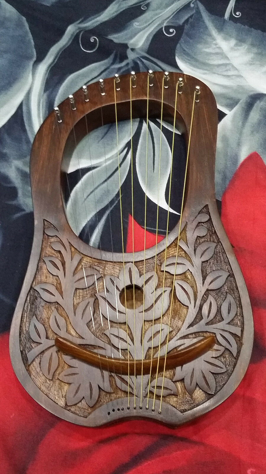 Engraved Lyre Harp pinkwood 10 Metal Strings Free Carrying Case and Key.Harfe