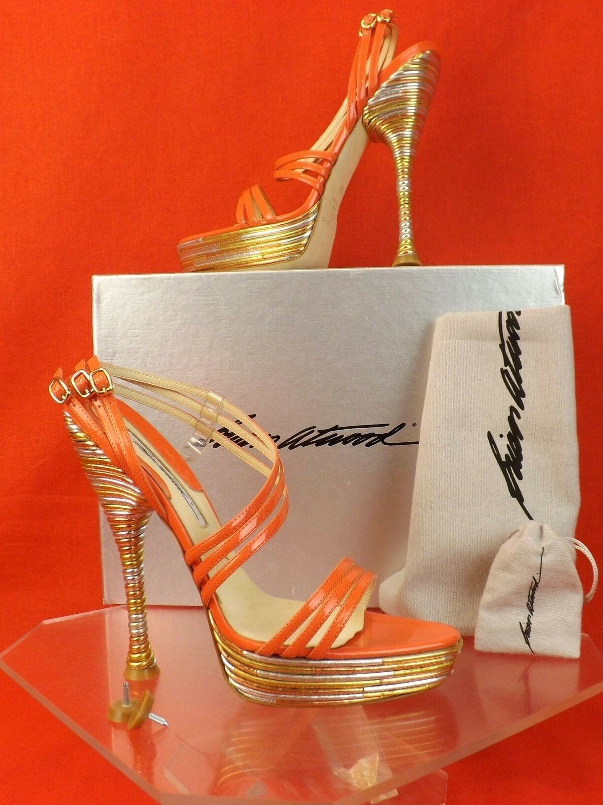 NIB BRIAN ATWOOD RENE CORAL PATENT LEATHER PIPED PLATFORM SANDALS PUMPS 39.5 K