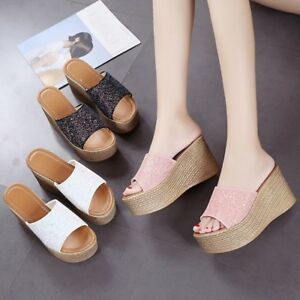 Fashion-Womens-Open-Toe-Wedge-High-Heel-Slippers-Slip-On-Shoes-Platform-Sandals
