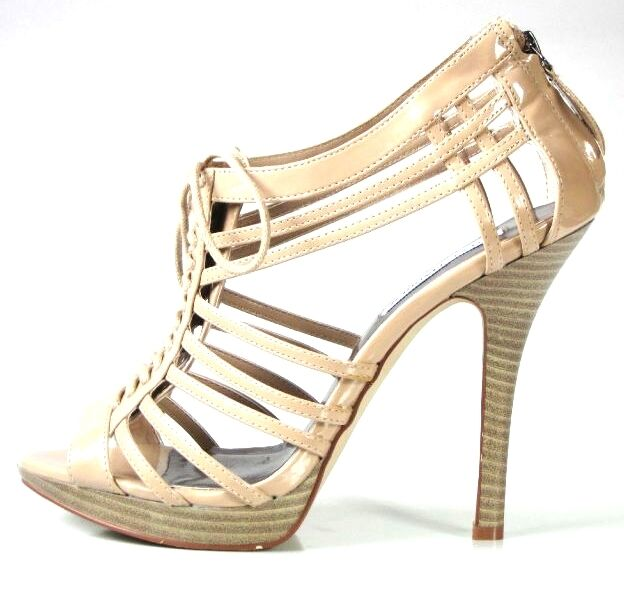 Hot NIB STEVE MADDEN open toe strappy strappy strappy platforms heels shoes 8.5 - SEXY BEIGE 7cb085