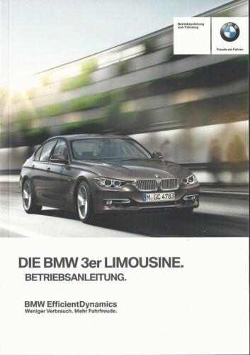 BMW 3er f30 manuale di istruzioni 2013 MANUALE MANUALE bordo libro BA