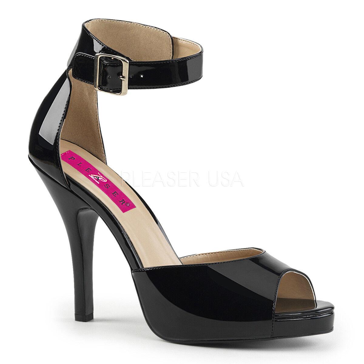 alta quaità PLEASER rosa LABEL LABEL LABEL EVE-02 Nero Brevetto Tacco Alto Cinturino Alla Caviglia Tg  più ordine