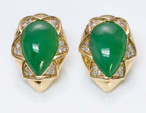 Gump's Jade Diamond 18K Yellow Gold Earrings
