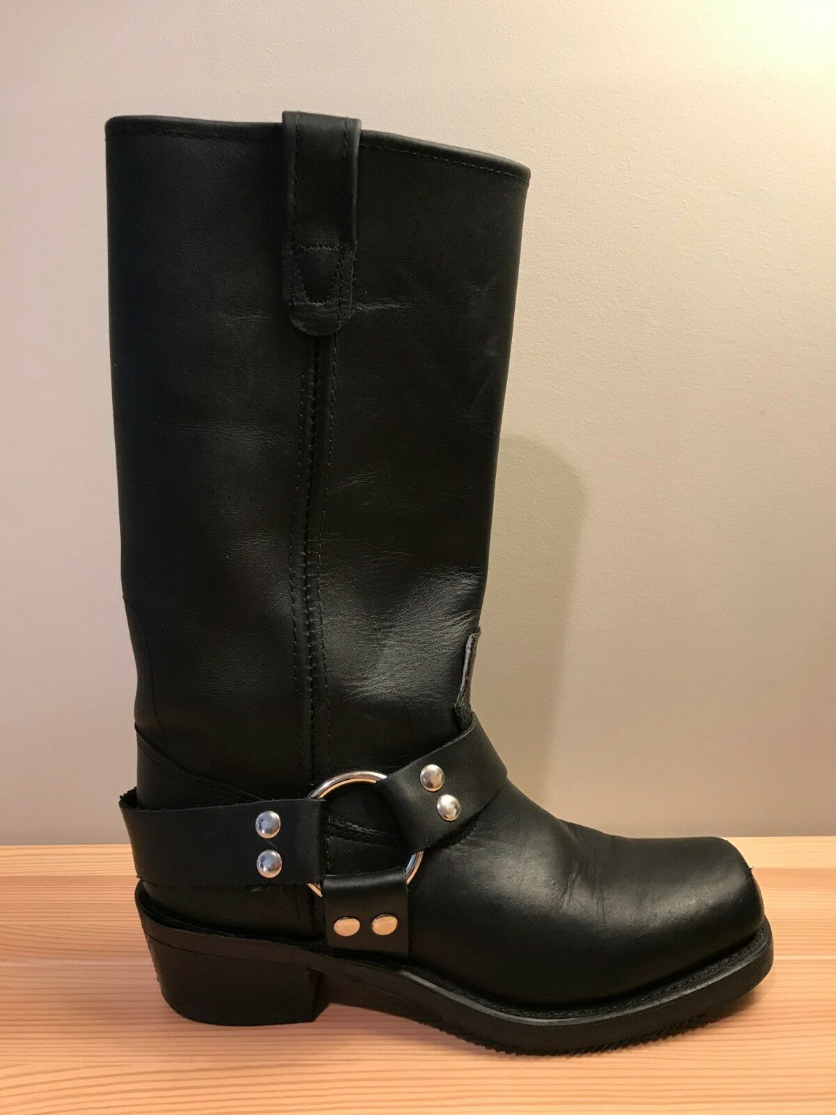 Double Double Double H 5008 Harness Black Leather Pull On Square Toe Boots Women's Size 7 N 434084