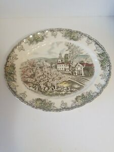 Johnson-Bros-Friendly-Village-12-034-Oval-Platter-The-Village-Green-Made-in-England