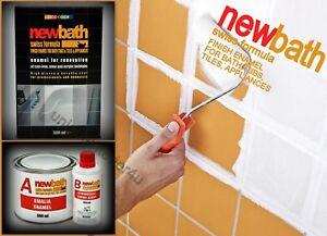 Bath resurfacing kit k quick dry enamel white paint repair tiles