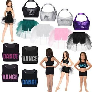Kids Girls Glittery Sequins Ballet Crop Jazz Hip Hop Halter Bra Tops Dancewear