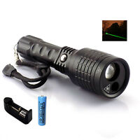 Hunting Led Green Laser Pointer Flashlight Search Light Torch + Battery Charger