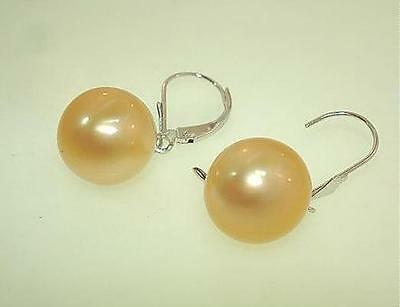 11mm Genuine Golden South Sea Pearl 14k White Gold Leverback Earrings