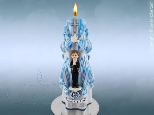 Taufkerze Kommunionkerze geschnitzt blau weiß mit Figur 3D Taufkerze Junge