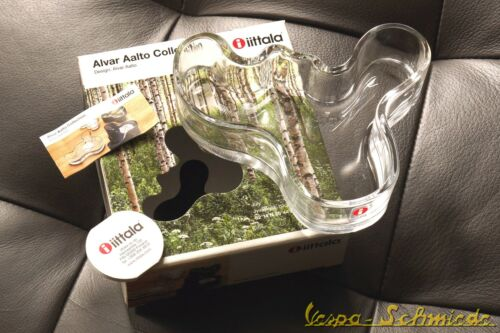 Clear New 004486 136 x 40mm Iittala Alvar Aalto Collection Glass Dish Bowl