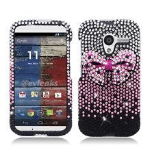 Motorola Moto X XT1058 Crystal Diamond BLING Case Cover Pink Bow Gradient Black