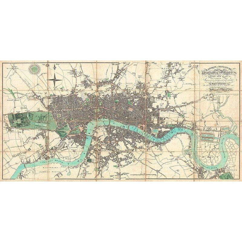 Quadro su su su Pannello in Legno MDF Edward Mogg Map of London, 1806 b976b0