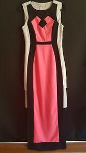 Pink-Black-amp-White-Maxi-Dress-Luvalot-Size-10
